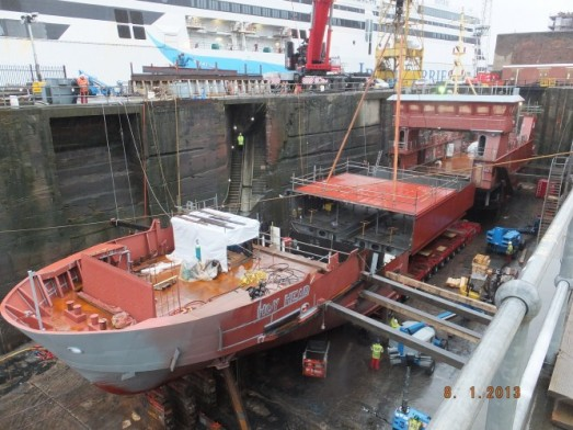 MV Hoy Head lowered into place at Cammell Laird