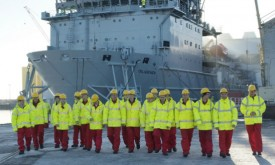 Cammell Laird apprentices with the RFA Diligence.