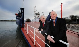 Cammell Laird Transport Minister Danny Kennedy (left) pictured with Cammell Laird Director Rob McBurney