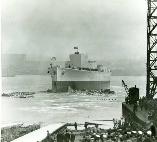 The launch of HMS Prince of Wales at Cammell Laird in 1939