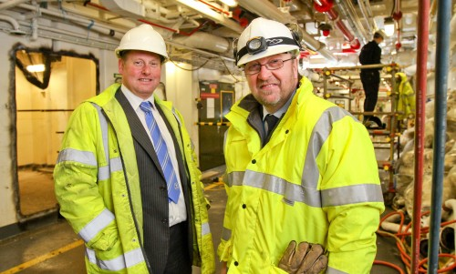 L-R Cammell Laird Project Director Spencer Atkinson and the RFA's Captain Nick Fox aboard Victoria